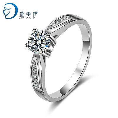 925 Sterling Silver Crystal Claw Ring For Women Fashion Wedding Jewelry Size 6-9