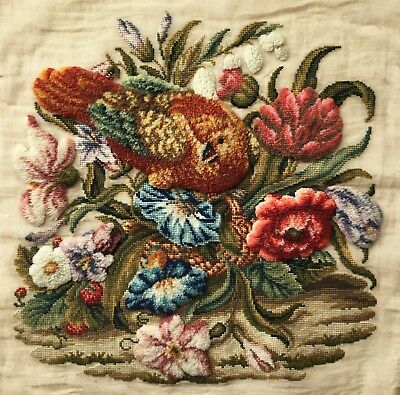 Beautiful Antique Victorian Plushwork,turkeywork Tapestry Panel. Bird, Flowers