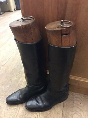 Pair Vintage Leather Horse Riding Boots & Wooden Boot Trees Shop Display