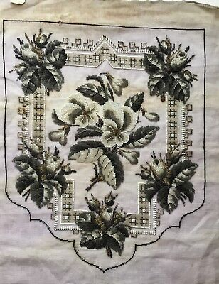 Striking Large Antique Victorian Beadwork Banner , Fire Screen Panel.to Complete