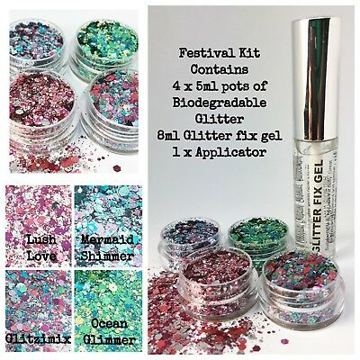 Biodegradable Glitter - Festival Party Kit, Glitter Fix Gel + 4 x 5ml glitter