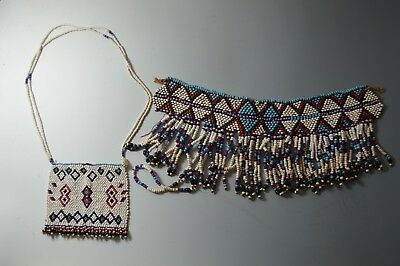 AFRICAN TRIBAL ART  OLD ZULU beaded items group