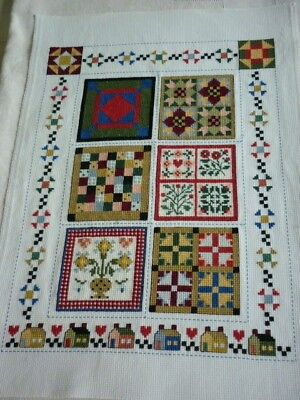 Completed unframed cross stitch - Vintage Quilts.