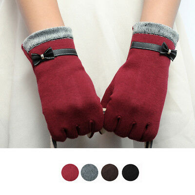 Feitong Elegant Womens Gloves Screen Winter Warm Bow Soft Wrist Gloves Mittens C