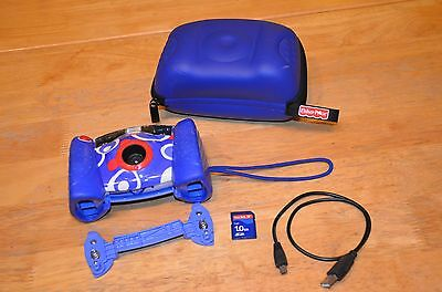 Fisher Price KID-TOUGH Digital Camera Blue L8341 2007 Case Strap USB Cord 1GB SD