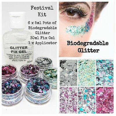 Biodegradable glitter - Cosmetic Festival Party Kit, 6 x Glitters & Fix Gel
