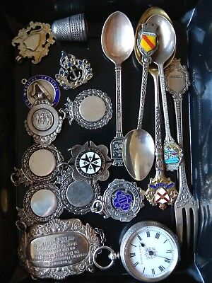 hallmarked silver pocket watch & fobs etc not scrap