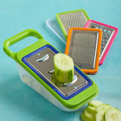Vegetable Grater Slicer Grate & Store Interchangeable Blades w Storage Container