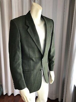YVES SAINT LAURENT France Wool Olive Green 2 Button Sport Coat Plaid Check YSL