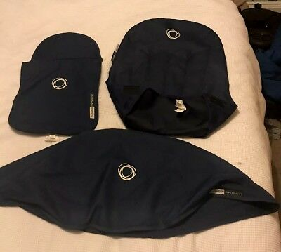 Bugaboo Cameleon Tailored Fabric Set Navy. Hood Seat Liner Carrycot Apron