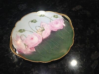 D&C Antique Floral Decorative Plate China Hand-painted Signed 1907
