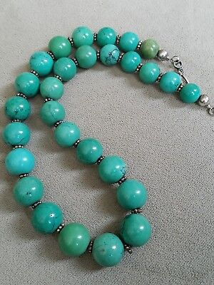 """Chinese Carved Turquoise Bead Graduated Necklace Sterling Silver - 14mm - 16"""""""