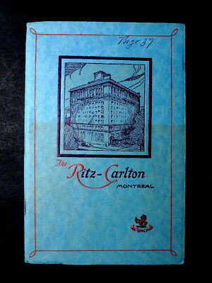 Old Booklet Advertises Ritz Carlton Hotel in Montreal Quebec Canada ca. 1920s