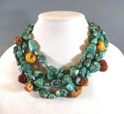 Vintage Tibetan Chinese Fine Turquoise Nugget & Amber Bead Multi-Strand Necklace