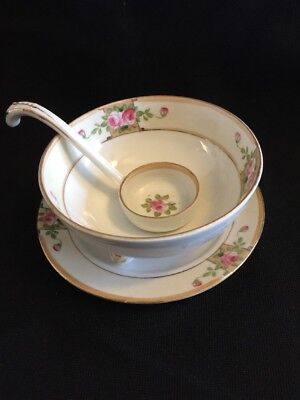 Nippon Hand Painted Tri-Foot Mayonnaise Bowl With Under Plate & Spoon Rose Motif