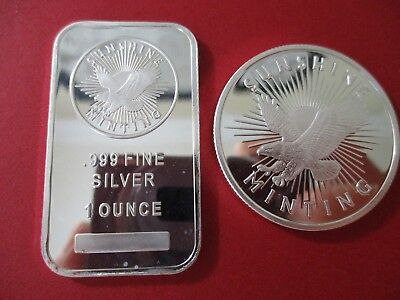 Lot of 2 - 1 oz. Sunshine Minting .999 Fine 1- Round and 1- Bar - See Photos