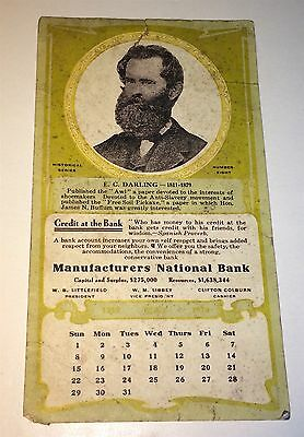 Rare Antique American Mfg National Bank Advertising Ink Blotter! E. C. Darling!