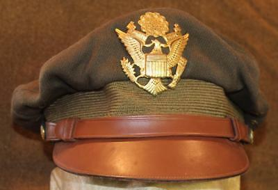 Wwii Usaaf Us Army Air Force Olive Drab Wool Crusher Hat No Holes Flexible Bill