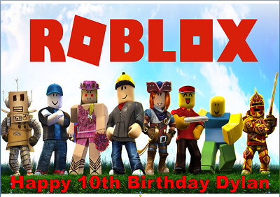 """Rectangle cake topper Roblox Personalised 11"""" x 8"""" edible icing or wafer sheet"""