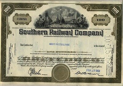 Southern Railway Company Stock Certificate Railroad
