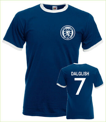 Kenny Dalglish Scotland No.7 Mens Retro Football Ringer T-Shirt