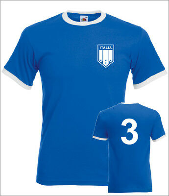 Paolo Maldini Italy No.3 Mens Retro Football Ringer T-Shirt