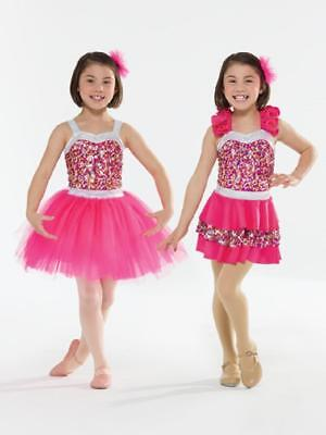 Dance Costume Small Child Pink Silver 2in1 Ballet Tap Jazz Competition Pageant