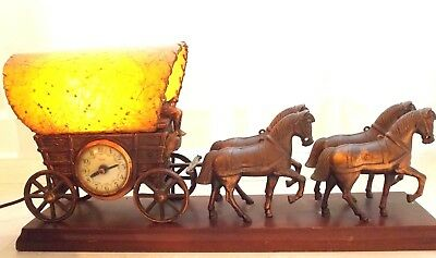 Vintage United Metal Goods Electric Motion Clock & Lamp Horse Drawn Wagon