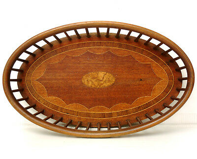 Superb Antique Regency Inlaid Mahogany Oval Galleried Bread Basket Bowl