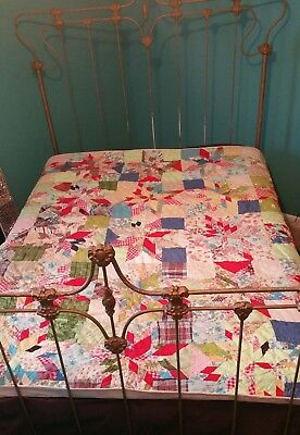Vintage Antique 30s-40s Quilt HAND SEWN TENNESSEE FEEDSACK COUNTRY QUILT