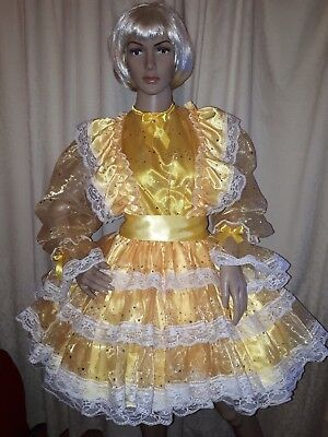 Sissy Yellow Satin Dress with Gold Sequin Organza Overlay
