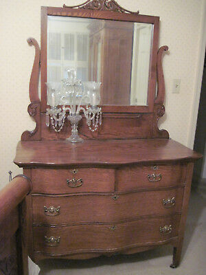 Antique Oak Serpentine Dresser and Beveled Mirror. Victorian  Oak Dresser