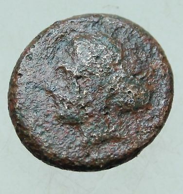 Ancient Greek Bronze Coin Head of Apollon Rs Hera seated - 20mm 7.4grams Rare
