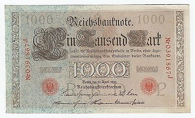 1910 German Reichsbanknote One Thousand 1000 Mark - Red Serial & Seal