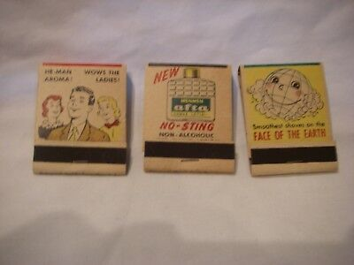 Vintage Famous Mennen Shave Advertising Lot Of Three (3) Match Books Unused