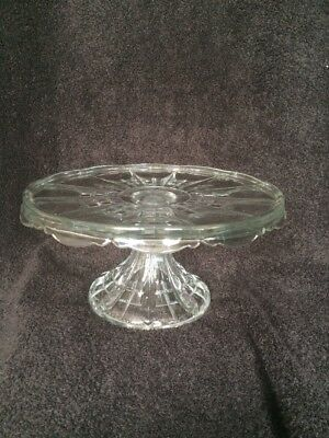 Vintage Pressed Glass Clear Pedestal 5  TALL Cake Stand Plate 9-1/4 & VINTAGE PRESSED Glass Clear Pedestal 5