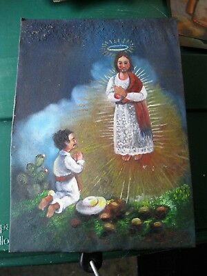 Vintage Retablo On Tin Man Kneeling To Image Of A Saint,very Colorful Piece