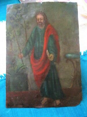 Original Antique Retablo On Tin With The Image Of Saint Paul 10'' By 14''