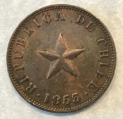 Chile 1853 Copper Large 1 Cent Km-127 Red Luster Ef+/au Rare Grade & Eye Appeal