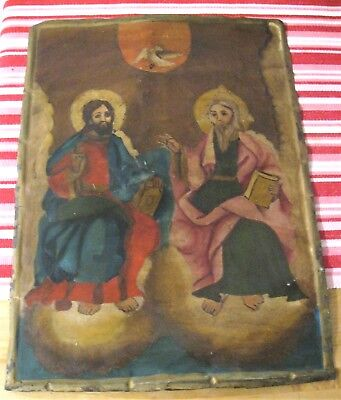 Original Antique Retablo On Tin Image Of The Holy Trinity 11 3/4'' By 16''