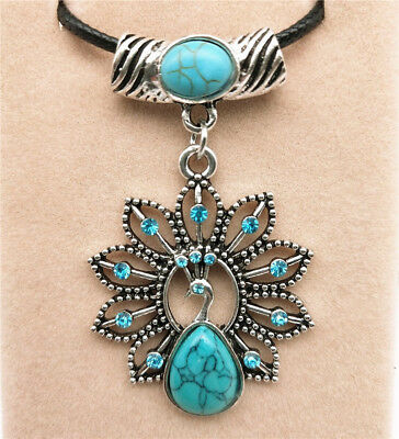 Fashion Jewelry Antique Silver Turquoise Pendant  Rhinestone Necklace Gift L01