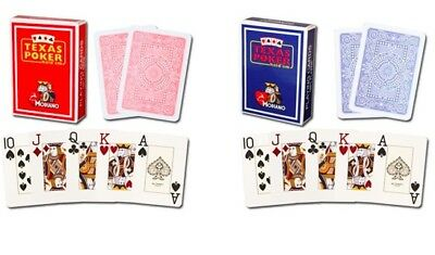 Red Blue Modiano 100% Plastic Playing Cards Poker Size Jumbo Index Free Cut Card