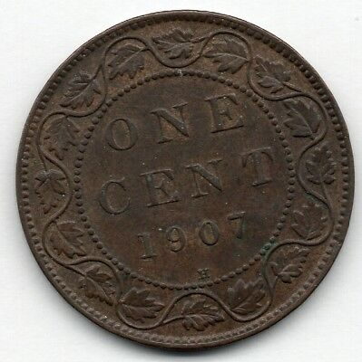 Canada Large Cent 1907 H (Penny) Coin