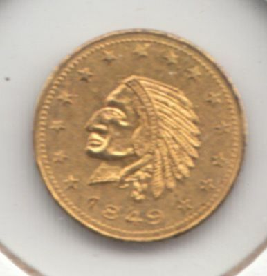 """1849 """"California Gold"""" Gold Plated Token (Uncirculated)...No Reserve!"""
