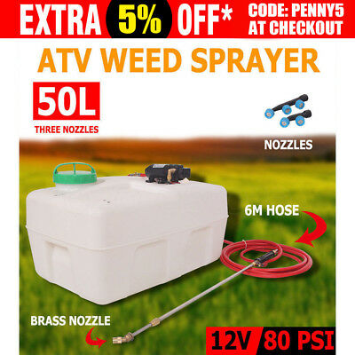 50L ATV 12V Garden Weed Sprayer Tanks 3 Nozzles Unit Chemical Farm Water Pump