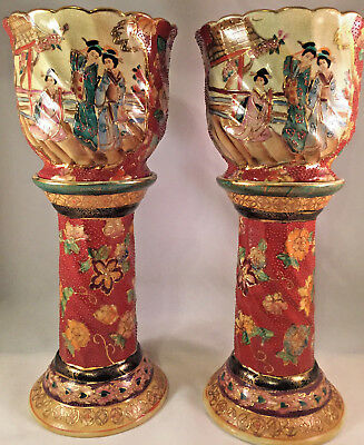 Pair Of Vintage Chinese Japanese Porcelain Plant Pots With Pedestal Bases
