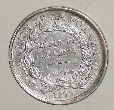 Old 1899 Bolivia Silver Coin 50 Centavos Cent Km#161 Unc? South America Scarce