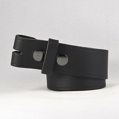 """New Mens Leather Snap On Belt No Buckle In Black / Brown Sizes 28"""" - 52"""""""