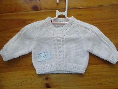 Hand Knitted Baby Jumper In Light Pink  .. Chest..46Cm