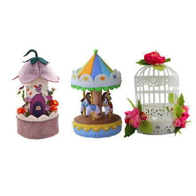 Music Box Felt Applique Kit Handmade Felt Materials DIY Package for Home Decor